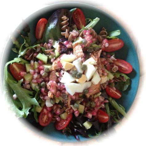 Valmis uunilohi salaatti